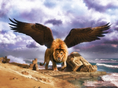 The Babylonian Lion in Daniel 7 with Eagles wings